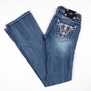 Miss Me Medium Wash Rhinestone Boot Cut Jeans